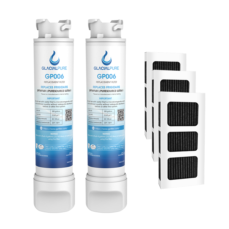 GlacialPure 2Pack  EPTWFU01 Refrigerator Water Filter Combo With PAULTRA2 Air Filter
