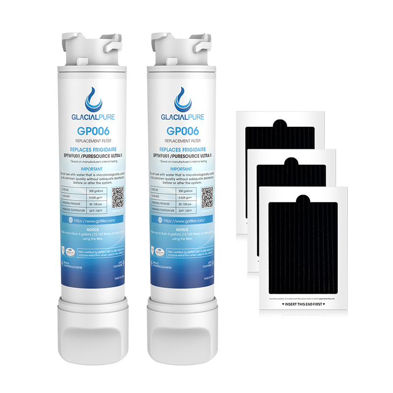 GlacialPure 2Pack EPTWFU01 Refrigerator Water Filter Combo With PAULTRA Air Filter